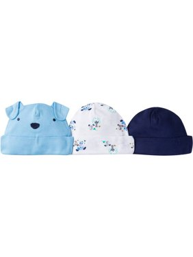 Newborn Baby Boy Assorted Caps, 3-Pack