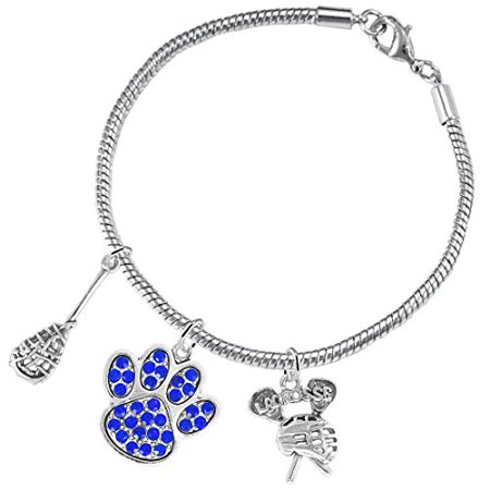 Lacrosse Jewelry, Blue Crystal Paw Jewelry, ©2015 Hypoallergenic Safe-Nickel, Lead And Cadmium Free! Lacrosse Jewelry Blue Crystal Paw Jewelry 2015