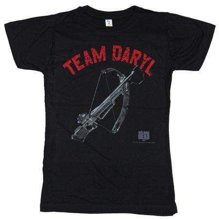 Walking Dead Girls Juniors T-Shirt - Team Daryl Dixon Crossbow Image - Daryl Dixon Costume Crossbow