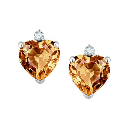 Star K Clic Heart Shape 2 Stone Simulated Imperial Yellow Topaz Earrings Studs