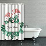 BSDHOME Tropical Paradise Decorated Exotic Rain Forest Jungle Green Palm Leaves Pink Flowers Flamingo Birds Couple Shower Curtain Polyester Bathroom Curtain 60x72 inches - image 1 de 1