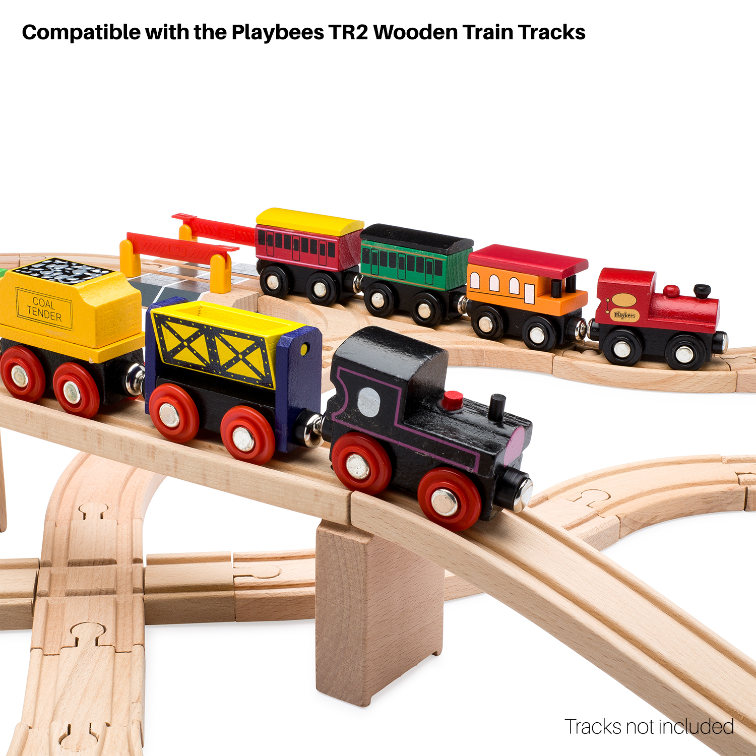Playbees 12 Piece Wooden Toy Train Cars Engine Set Compatible W