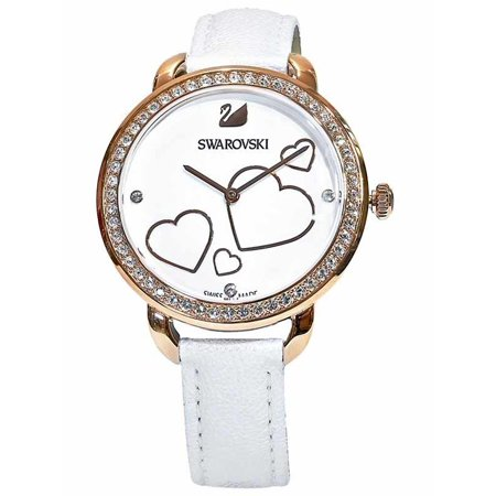 Swarovski White Leather - Swarovski Aila Day Heart Mother of Pearl White Leather Watch 5242514