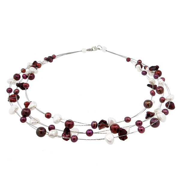 "18"" 3-Row White Pink and Brown Multi-Color Cultured Freshwater Pearl Necklace"