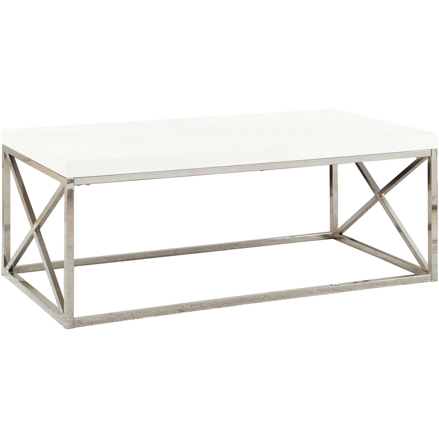 Monarch Coffee Table Glossy White With Chrome Metal Walmartcom