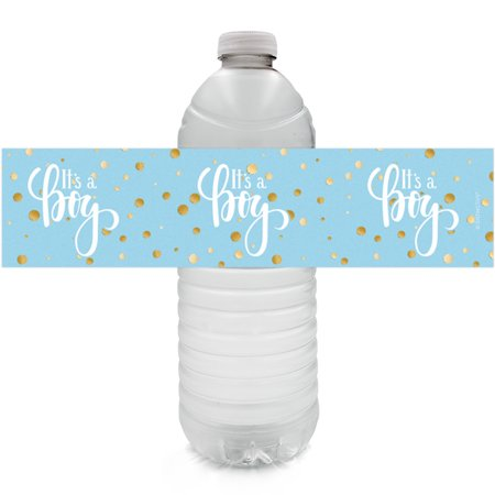 Gold Boy Baby Shower Water Bottle Labels 24ct - Blue and Gold Its a Boy Baby Shower Decorations Favors - 24 Count Sticker Labels - Baby Boy Shower Party Favor Ideas