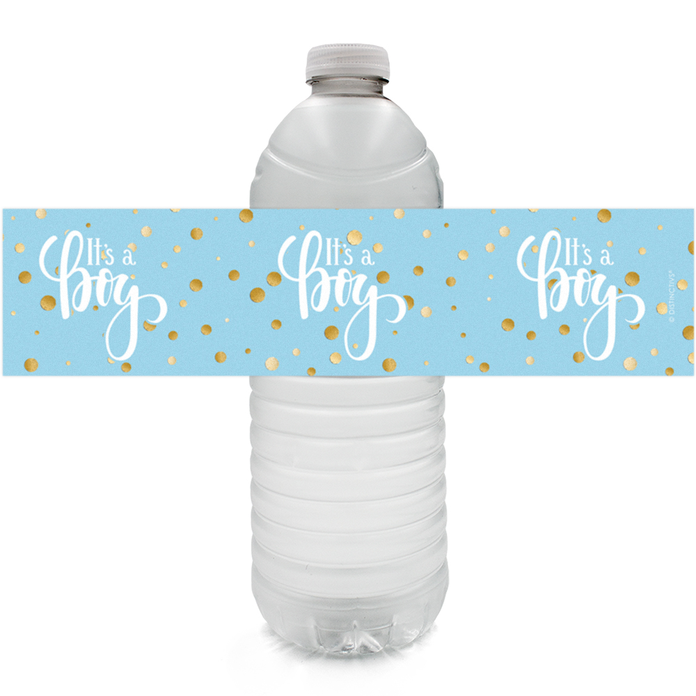 Gold Boy Baby Shower Water Bottle Labels 24ct - Blue and Gold Its a Boy Baby Shower Decorations Favors - 24 Count Sticker Labels