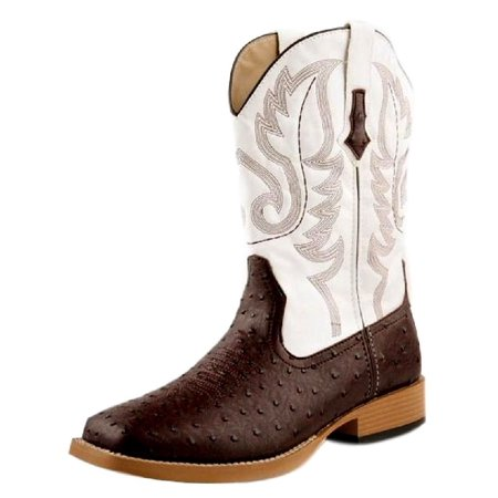 Roper Western Boots Mens Faux Ostrich Brown White 09-020-1900-0049 BR