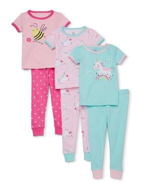 Wonder Nation Baby Girl Snug Fit Cotton Short Sleeve Pajamas, 6pc Set