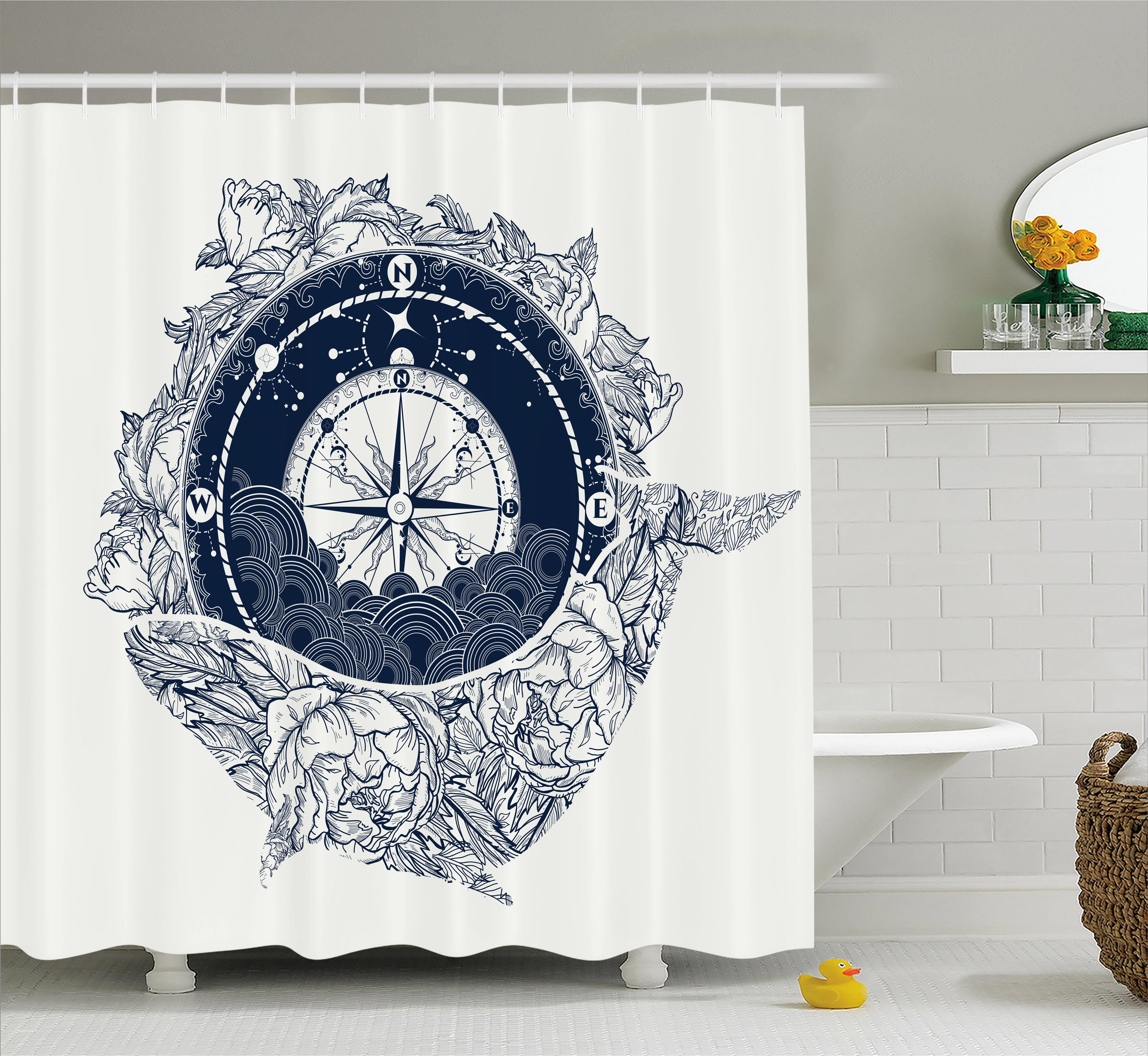 Adventure Shower Curtain, Antique Marine Compass and Floral Whale Figure Mystical Victorian Vintage, Fabric Bathroom Set with Hooks, 69W X... by Kozmos