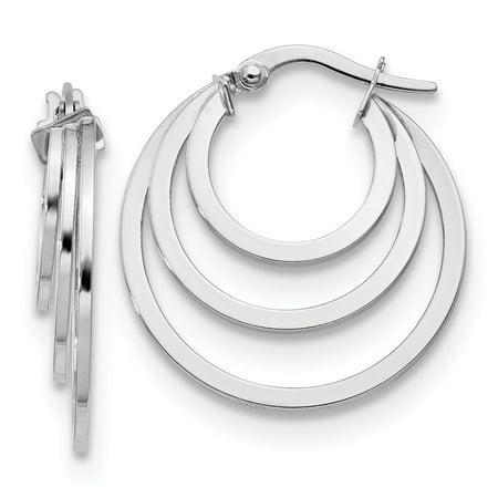 14k Hoop Ring (Leslie 14K White Polished 3 Ring Hoop Earrings)