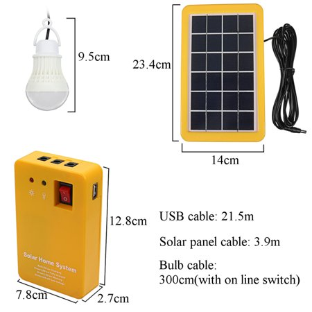 Solar Generator Portable kit, Solar Home DC System Kit, Power Inverter, USB Solar with 2 LED Light Bulb as Emergency Light, USB Charging Cable with 4 Heads, for