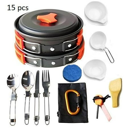 Lightahead 15 Pcs Camping Cookware Set Mess Kit Lightweight Compact & Durable Kit for Camping Hiking & Backpacking Outdoor Cooking