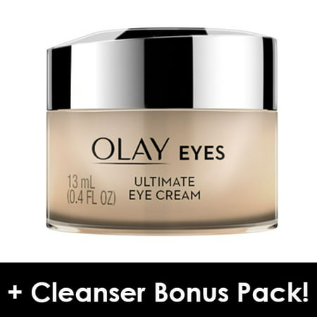 Olay Ultimate Eye Cream for Wrinkles, Puffy Eyes + Dark Circles, 0.4 fl oz + Daily Facial Dry Cleansing Cloths, 7 ct