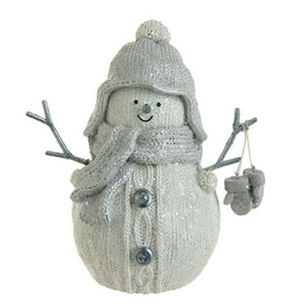 "7"" White Faux Knit Mica Glitter Snowman with Gloves Christmas Table Top Figure"