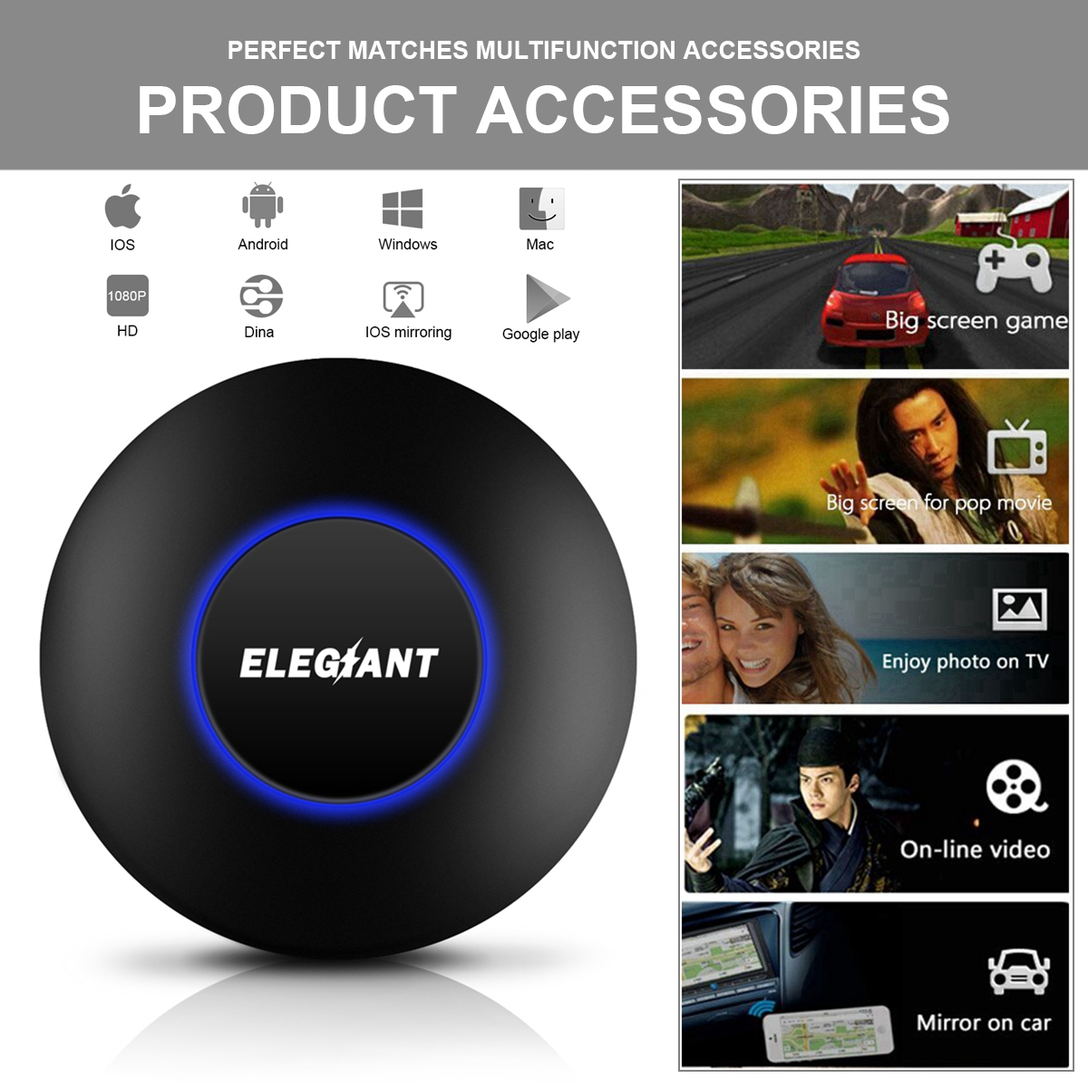 Wireless WiFi Display Dongle, ELEGIANT 1080P Mini Display Receiver HD AV Dual Output Miracast DLNA Air play Converter wifidisplay Adapter for IOS /Android / Windows /