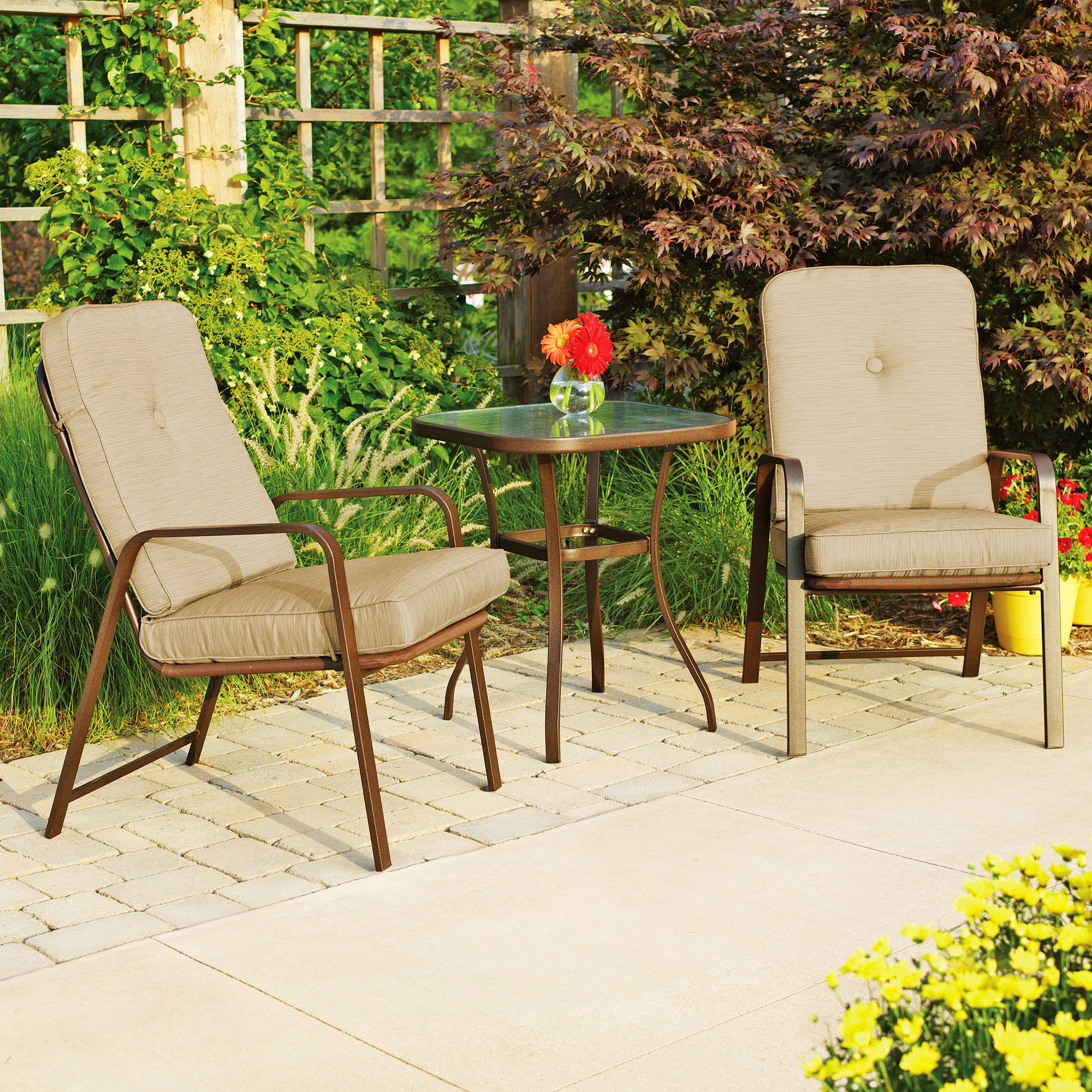 Mainstays Lawson Ridge 3 Piece Outdoor Bistro Set, Seats 2   Walmart.com