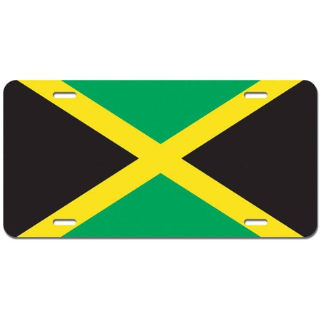 Jamaica Flag Novelty Metal Vanity License Tag Plate