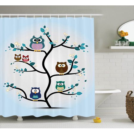 Owls Home Decor Shower Curtain Set Owl Family Perched On