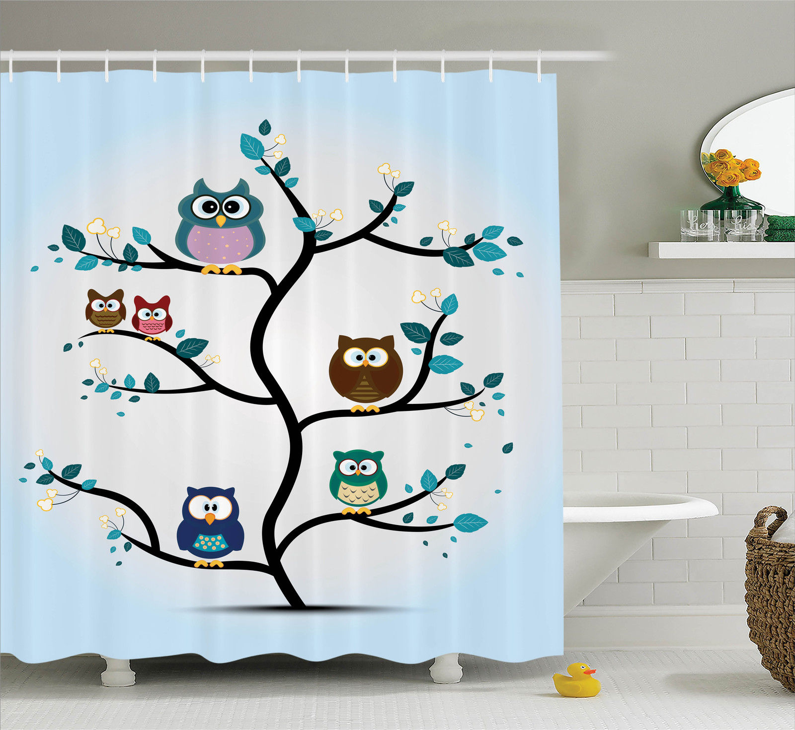 owls home decor shower curtain set owl family perched on a tree love grace nocturnal