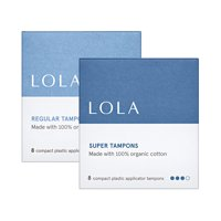 2 pack- LOLA Regular and Super Tampons, Compact Applicator, 8 each
