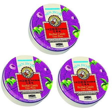 Nin Jiom Herbal Candy- 3 Tins (Ume Plum)