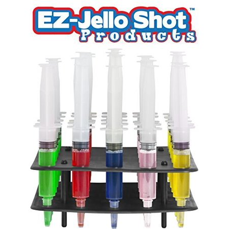 EZ-Inject Jello Shot Syringes Combo Kit with Tray/Racking Stand, 1.5 Oz, 25 Pack