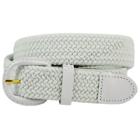 Elastic Fabric Stretch Web Belt Leather Covered Buckle - White