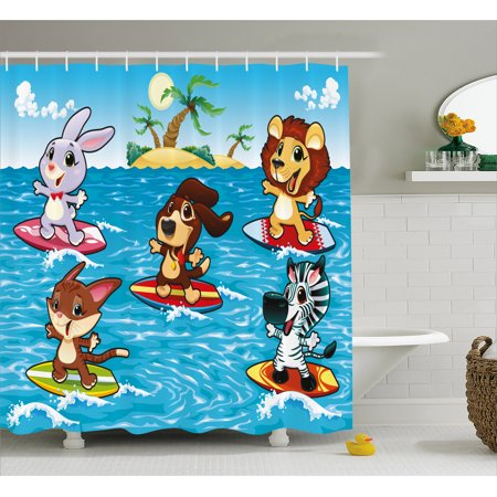 Animal Decor Shower Curtain, Cute Animals are Surfing in the Sea and Palm Trees Illustration Print, Fabric Bathroom Set with Hooks, 69W X 84L Inches Extra Long, Sky Blue and (Surf Animal)