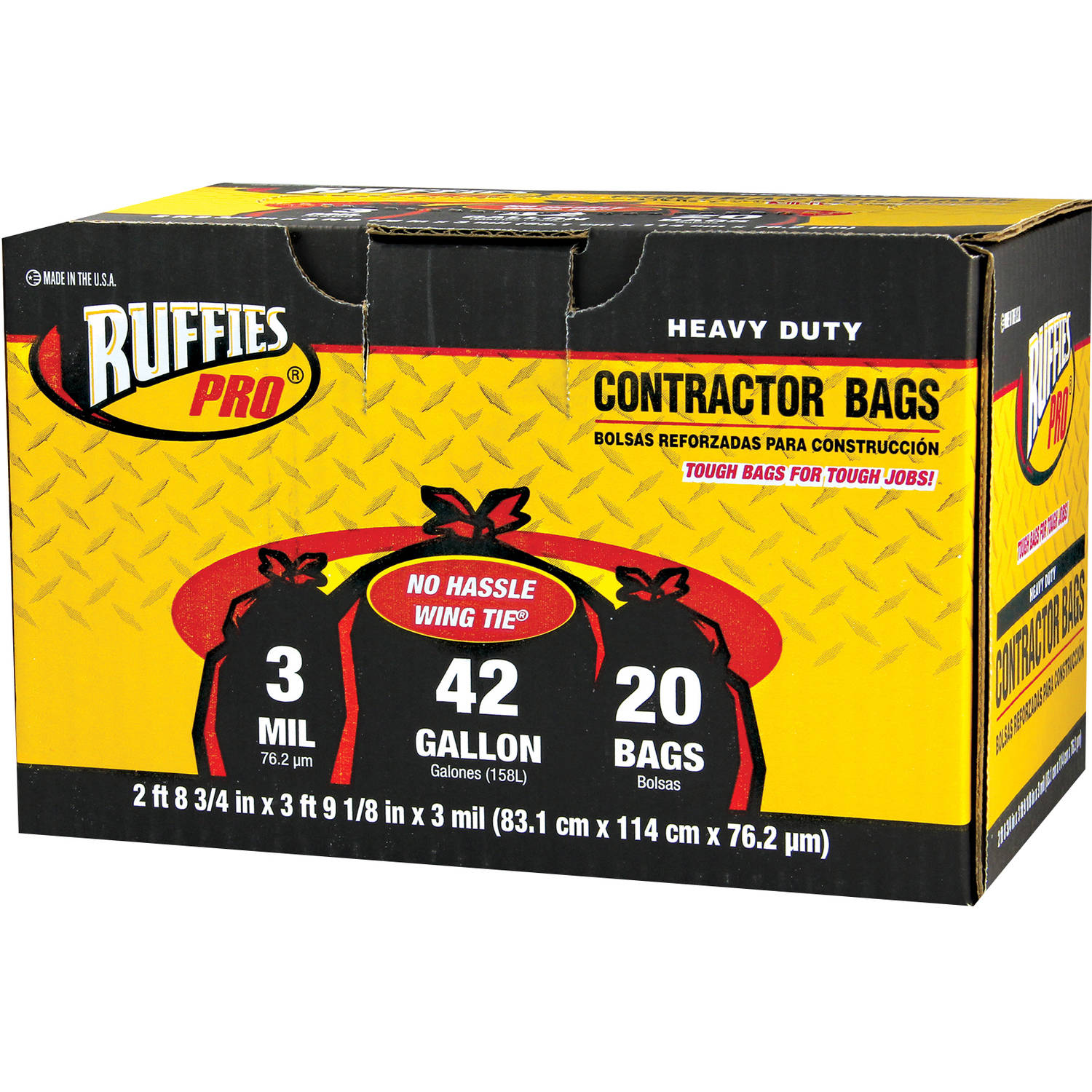 Ruffies Pro Heavy Duty Contractor Bags, 42 gal, 20 count