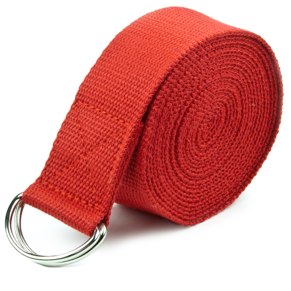 Red 10' Extra-Long Cotton Yoga Strap with Metal D-Ring by Pro Extensions