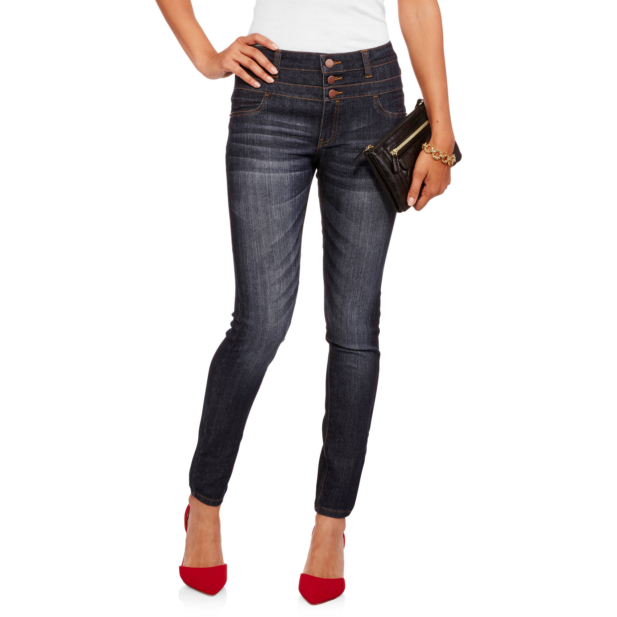 No Boundaries Juniors' 2-Button Thick Stitch Skinny Jeans with Distressing