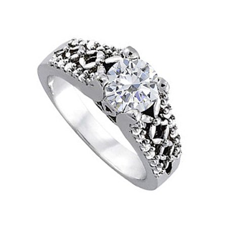 Attractive Gift Cubic Zirconia Ring in 14K White Gold Unique Design Reasonable Price Offer - image 1 de 2