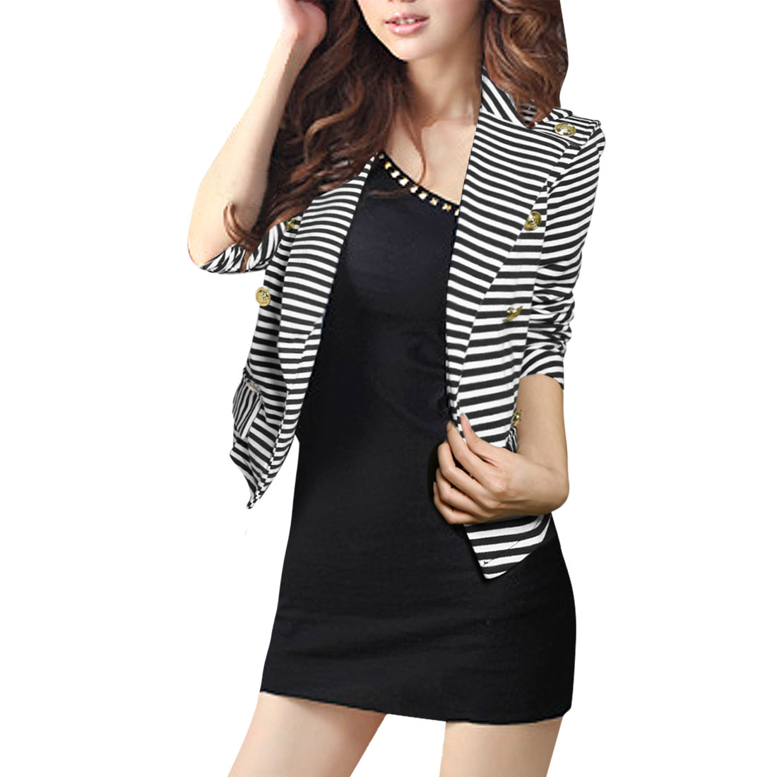 Allegra K Woman Striped Peaked Collar Double Breasted Blazer Coat Black White XS