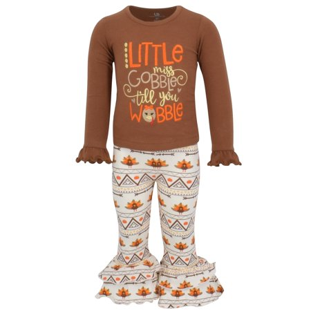Girls 2 Piece Little Miss Gobble Turkey Thanksgiving Outfit (8) - Miss Santa Outfit