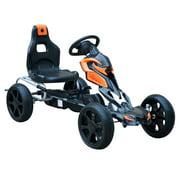 Aosom Kids Pedal Powered Ride-On Go Kart Racer With Hand Brake And Non-Slip Wheels - Orange