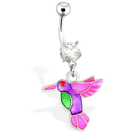 Hummingbird With Multi Color Plating And Red CZ Eye Dangle Surgical Steel Navel -