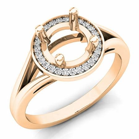 0.10 Carat (ctw) 14K Rose Gold Round Cut White Diamond Ladies Bridal Split Shank Semi Mount Engagement Ring 1/10 CT