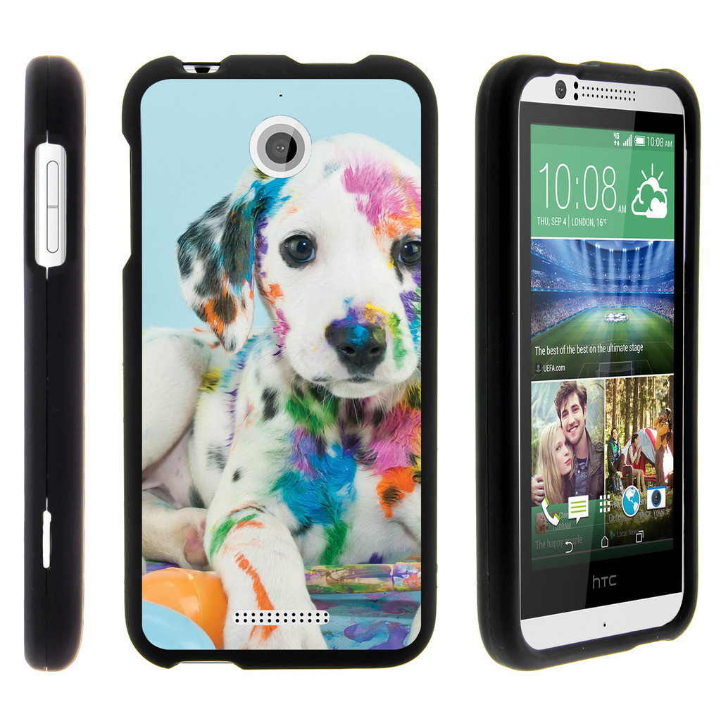 HTC Desire 510, [SNAP SHELL][Matte Black] 2 Piece Snap On Rubberized Hard Plastic Cell Phone Cover with Cool Designs - Colorful Puppy