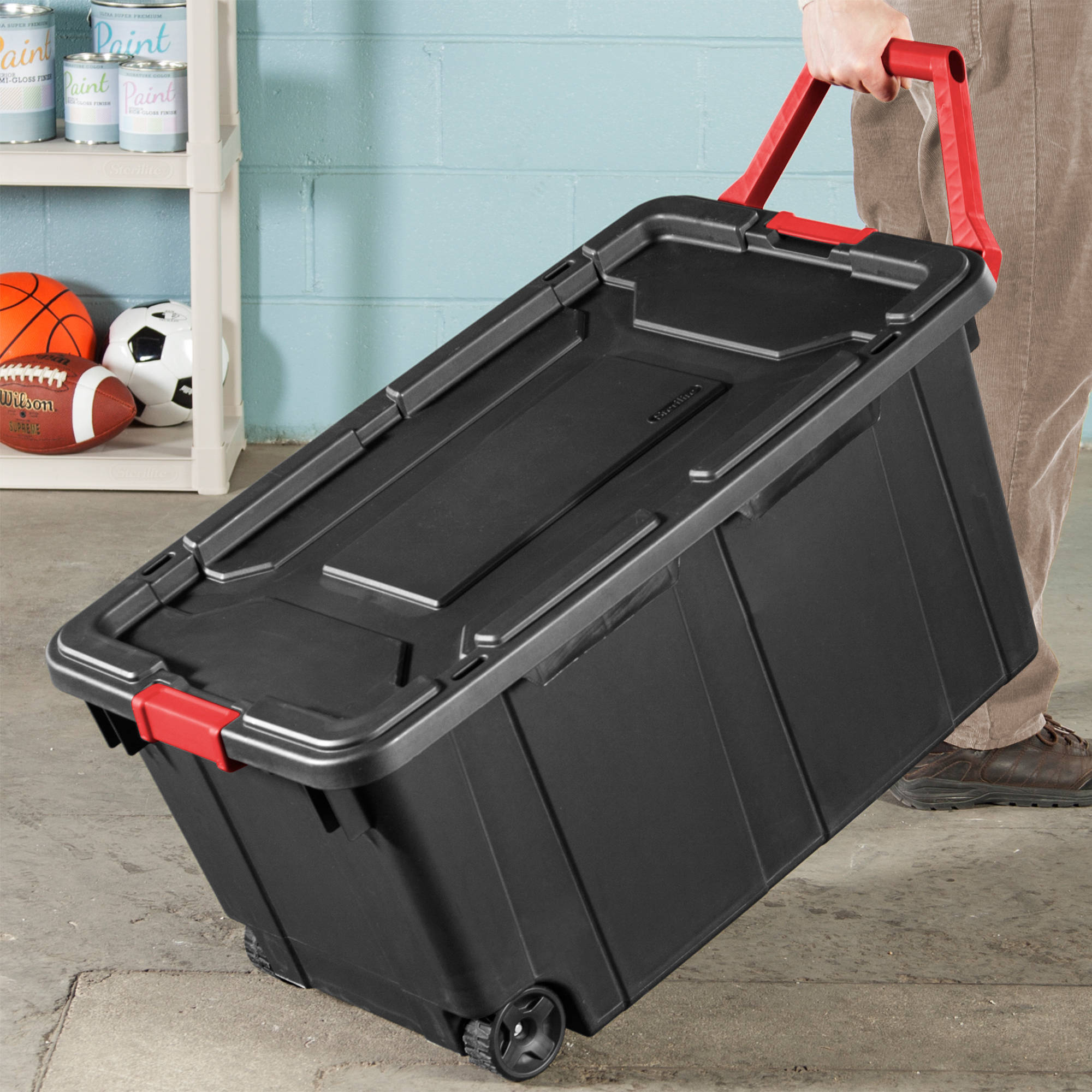 Plastic 40 Gallon Storage Tote Set Of 2 Sterilite Large Wheels Opaque Lid  Black