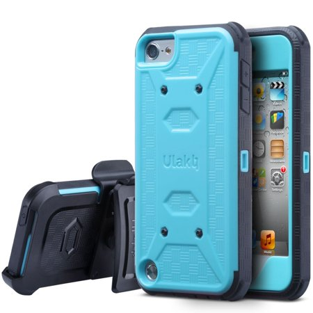 iPod Touch 7 Case, iPod 6 5 Case, ULAK Hybrid Full body Protective Case Belt Clip Holster for Apple iPod Touch 6 6th 5 5th Gen with Builtin Screen Protector ()
