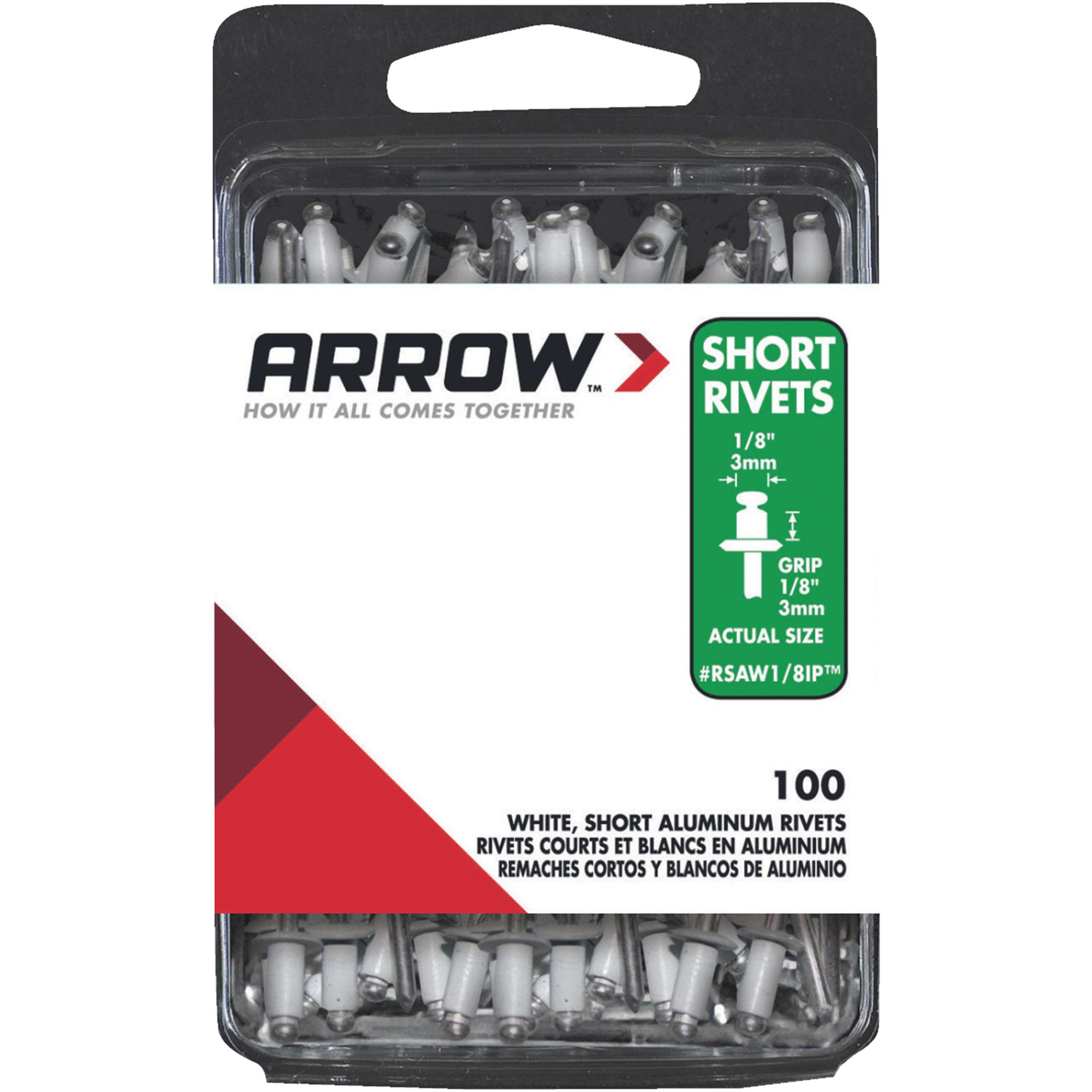 "Arrow Fastener Co. White 1/8"" Short Aluminum Rivets 100 Count"