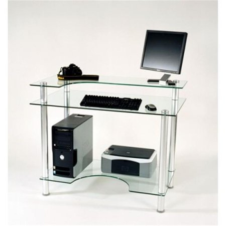 Tier one designs cut 106 clear glass computer desk with for Two tier desk ikea