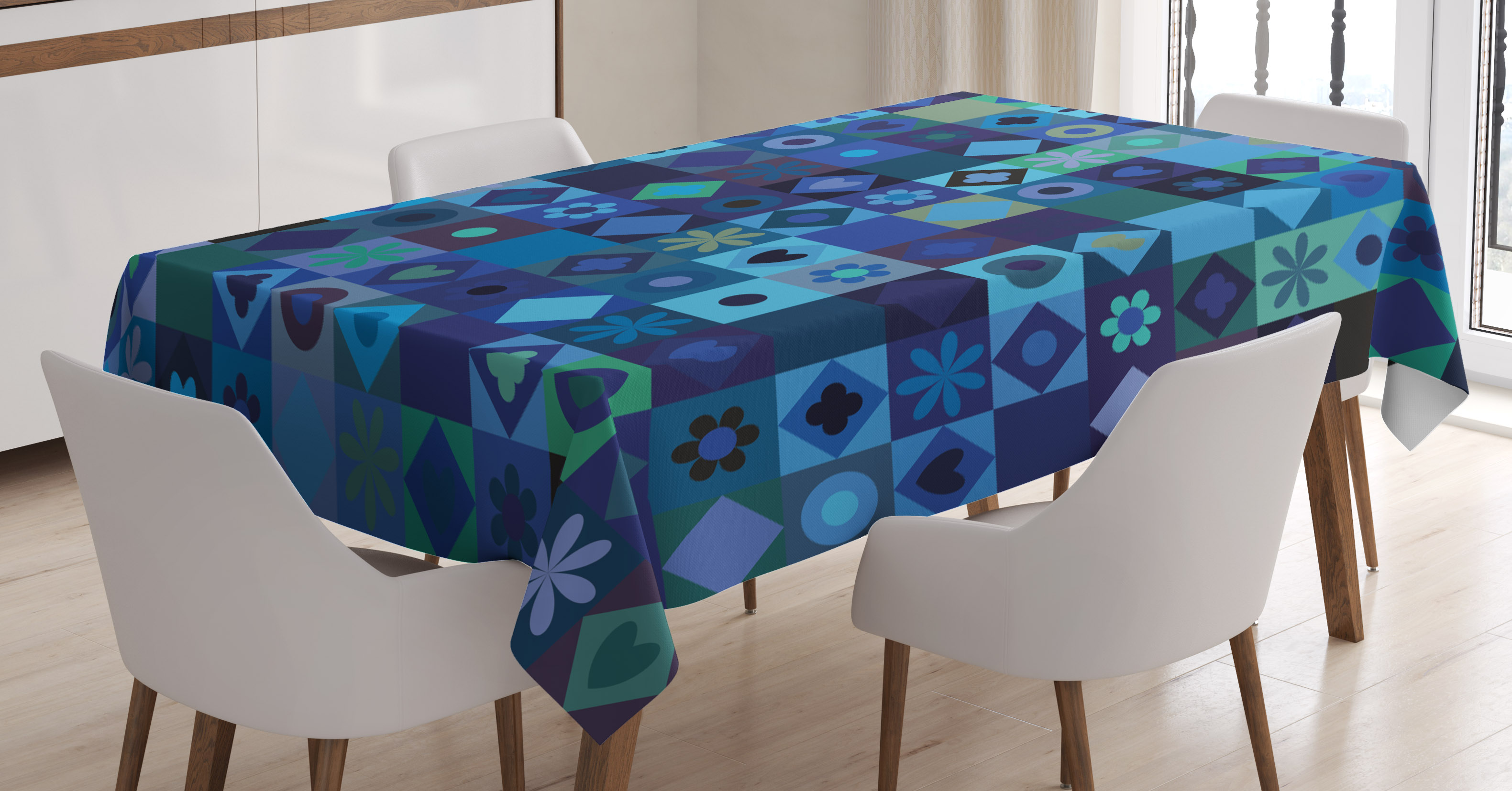 "Cards Yellow Mountain Imports Round Table Cover for Mahjong 60/"" Blue Games"