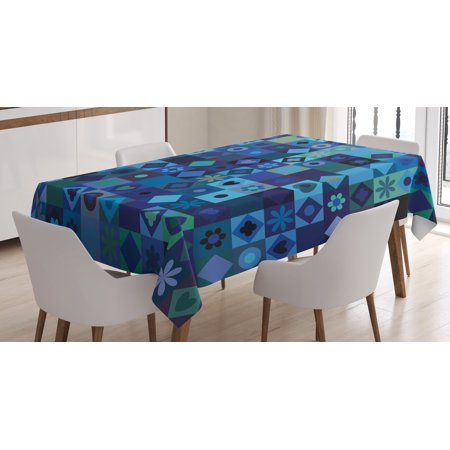 Indigo Tablecloth, Play Cards Inspired Hearts Circles Squares Flower Modern Image, Rectangular Table Cover for Dining Room Kitchen, 60 X 90 Inches, Blue Fren Green Black and Purple, by Ambesonne for $<!---->