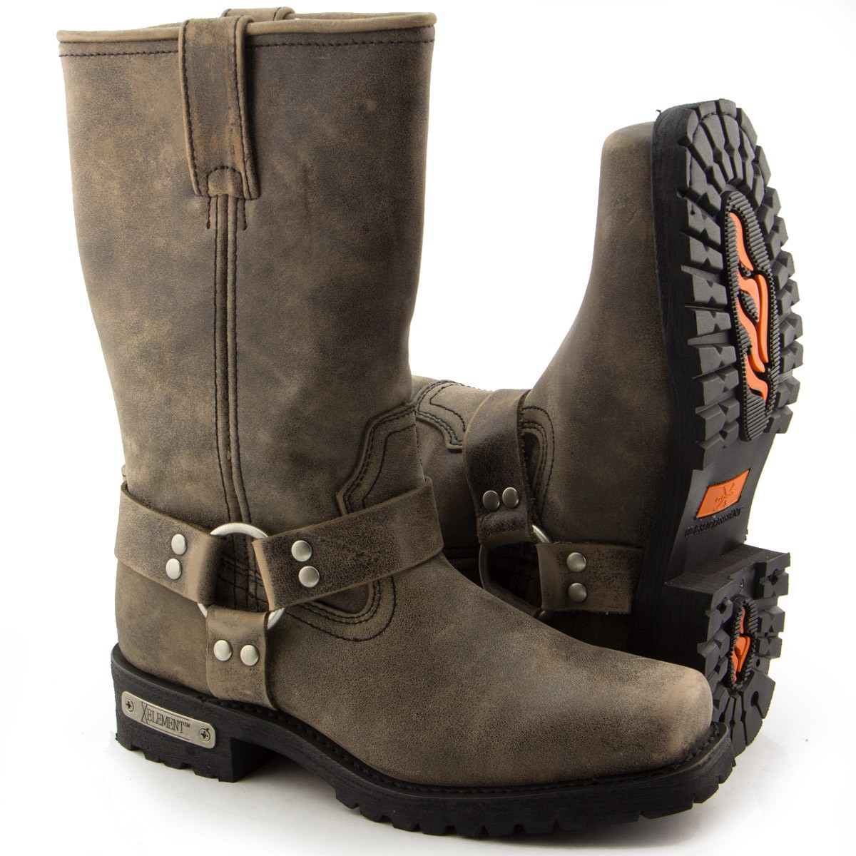 Xelement LU1604 Mens 13in Stone Wash Brown Leather Harness Motorcycle Boots