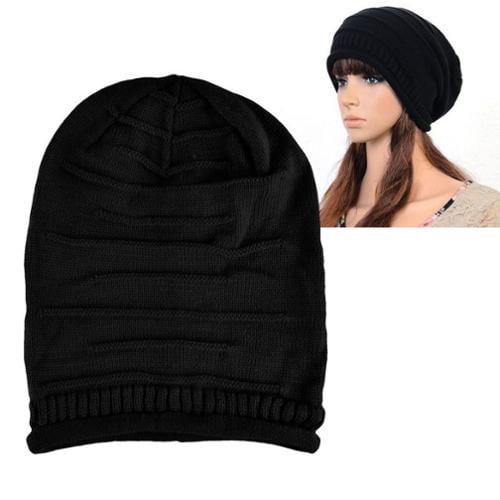 Zodaca Black Solid Color Unisex Knit Baggy Beanie Hat Winter Warm Oversized Ski Cap