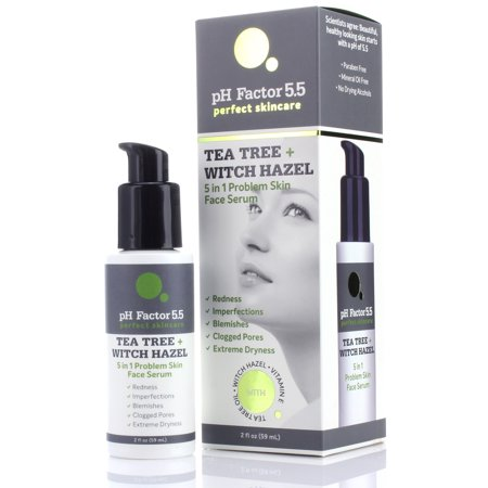 PH Factor 5.5 Tea Tree Face Oil with Witch Hazel, Vitamin E Natural Extracts. Anti-aging oil for Clogged Pores, Redness, Extreme Dry Skin, Imperfections, and Skin Blemishes. Large 2 fl oz (Best Makeup For Redness And Large Pores)