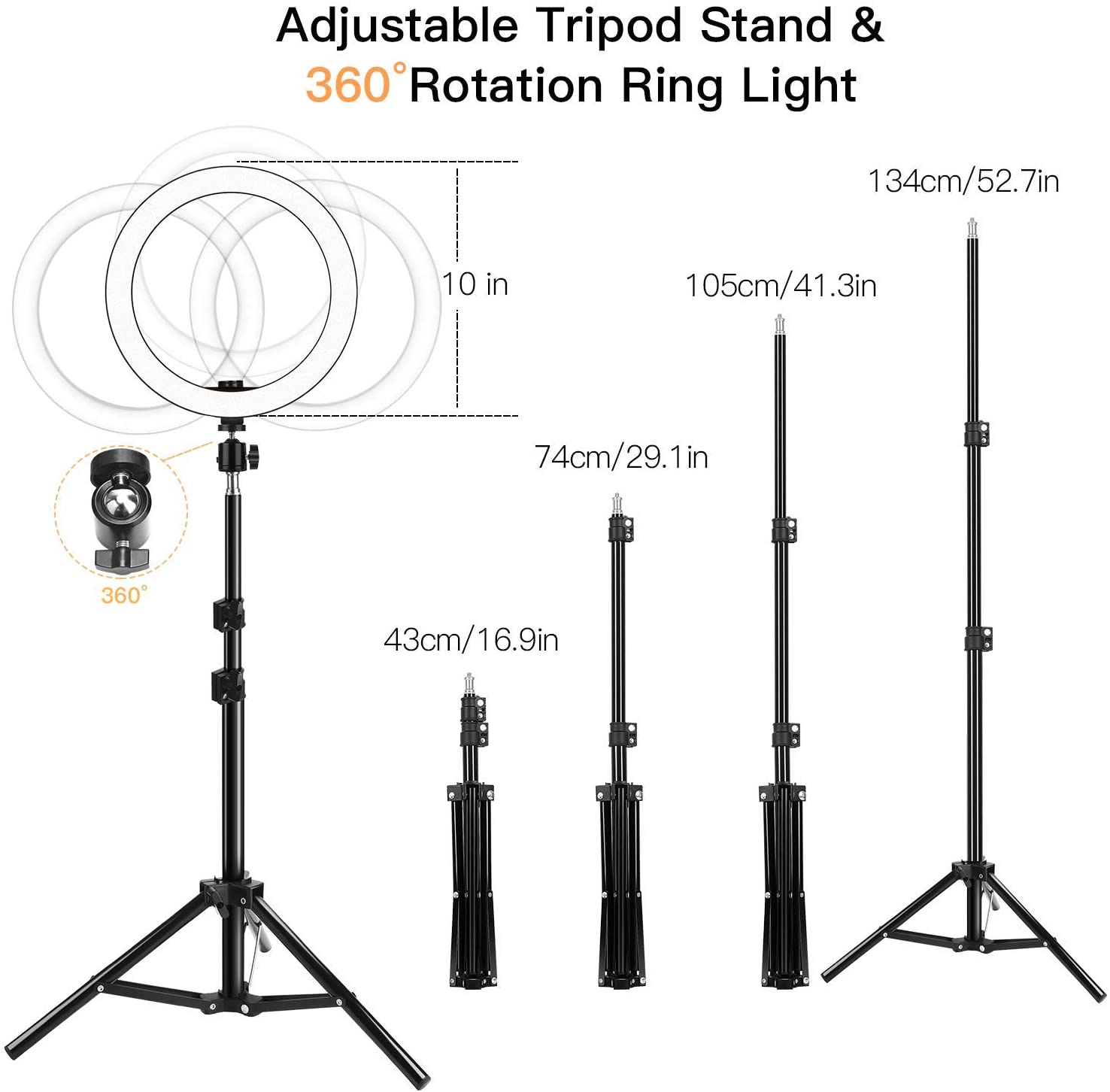 JACKYLED 10 Selfie Ring Light with 2 Tripod Stand /& 2 Phone Holder for Makeup Live Stream Dimmable Ring Light Kit Remote Shutter for Photography Compatible for iPad /& iPhone