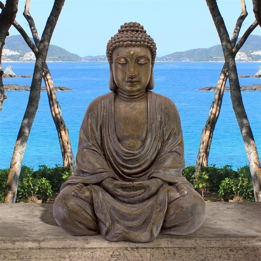 Design Toscano Meditative Buddha Of The Grand Temple Garden Statue Medium 26 Inch Polyresin Dark Stone Walmart Com Walmart Com